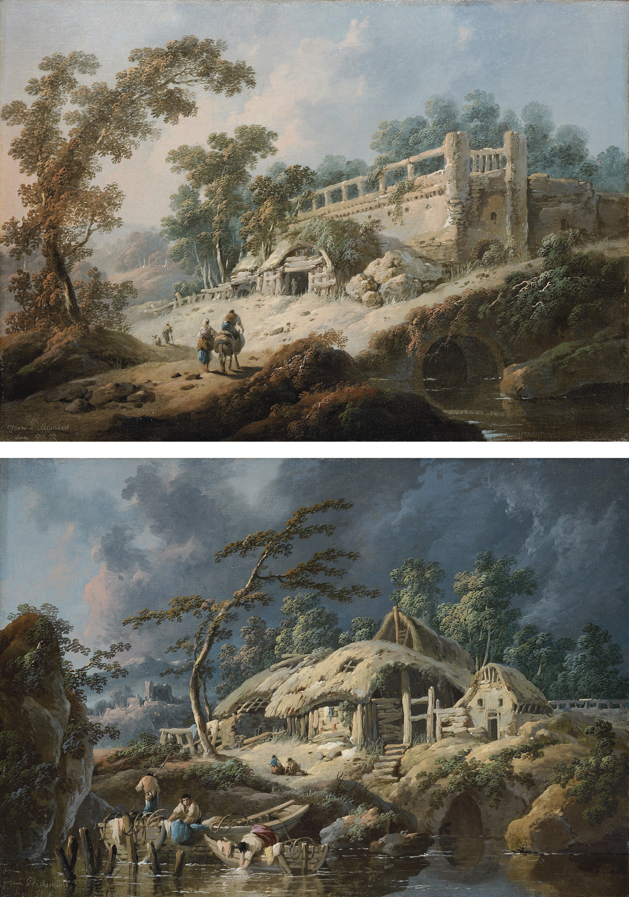 Dawn: A river landscape with travellers on a path, approaching a cottage set against classical ruins; and Dusk: A river landscape with boatmen tying up at a river bank near a rustic cottage