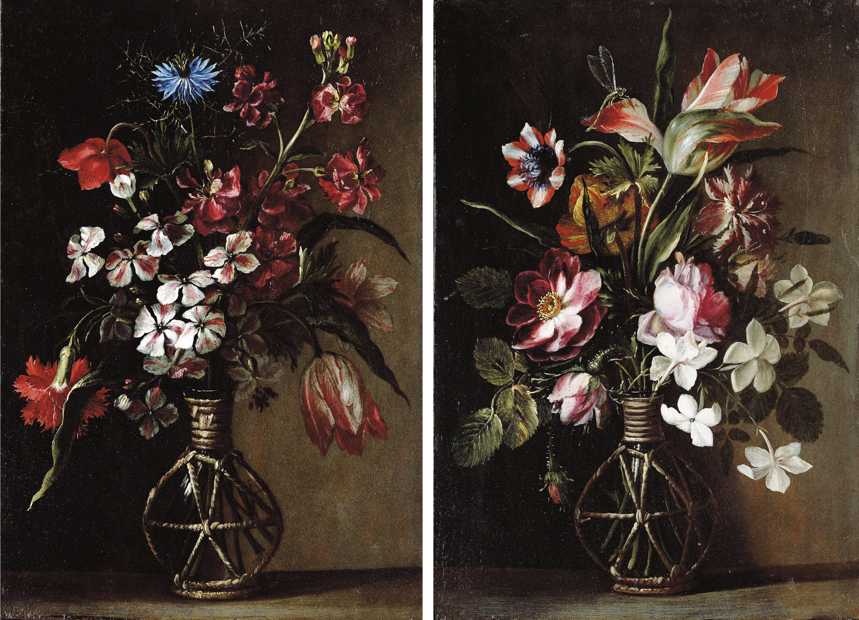 A cornflower, a tulip, a carnation and other flowers in a glass vase on a stone ledge; and A tulip, roses, jasmine and other flowers in a glass vase on a stone ledge, with a dragonfly