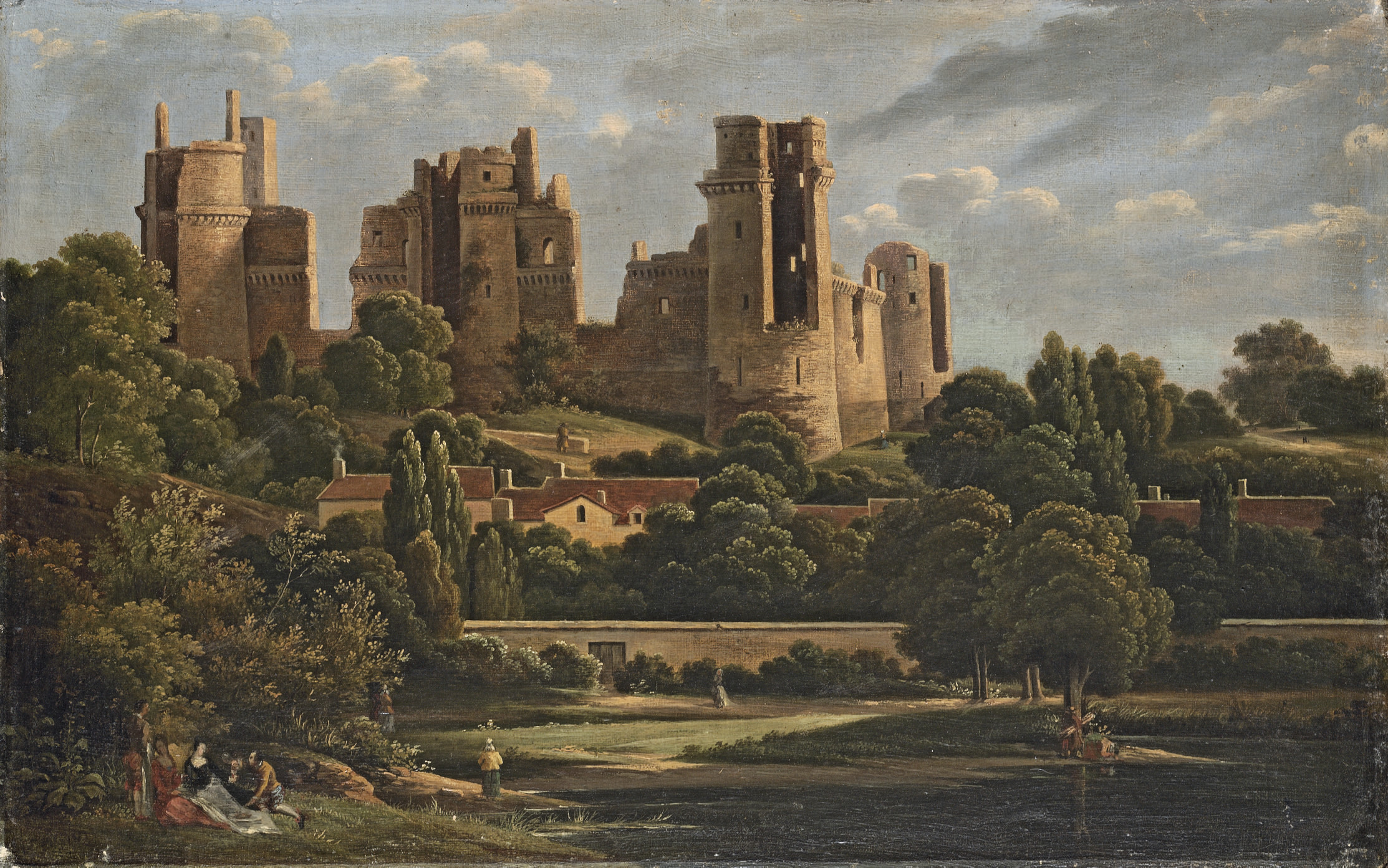 A view of the castle of Pierrefonds, in ruins, with figures by a river