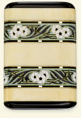 AN ART DECO IVORY, ENAMEL AND
