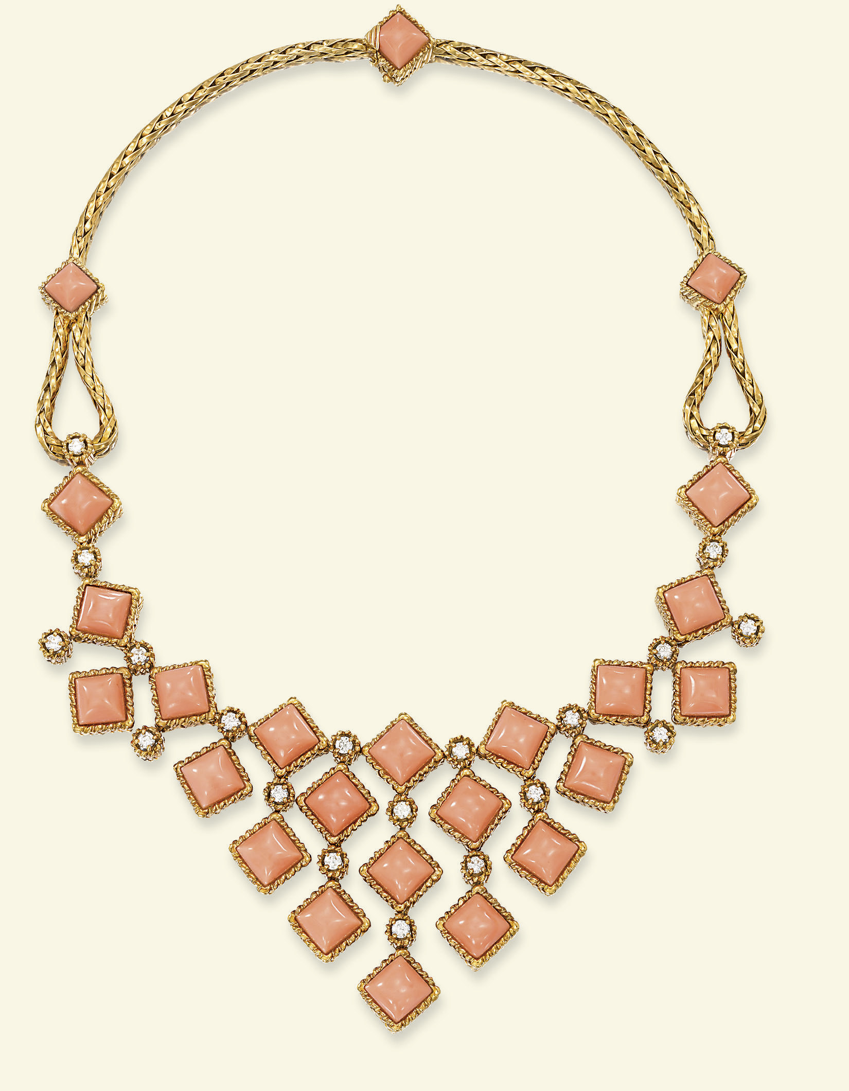 A CORAL AND DIAMOND NECKLACE,