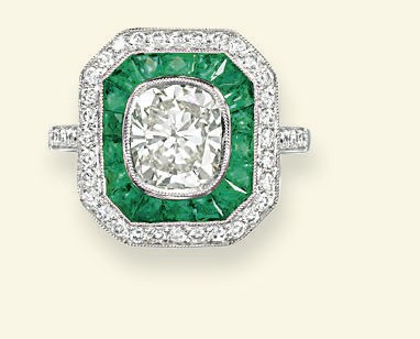 A DIAMOND AND EMERALD PLAQUE R