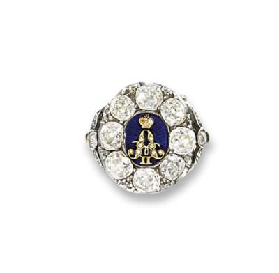 A RUSSIAN DIAMOND AND ENAMEL R
