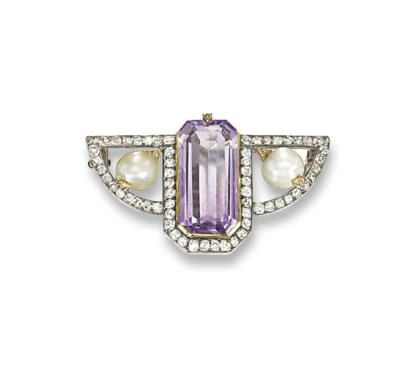 A RUSSIAN AMETHYST, PEARL AND