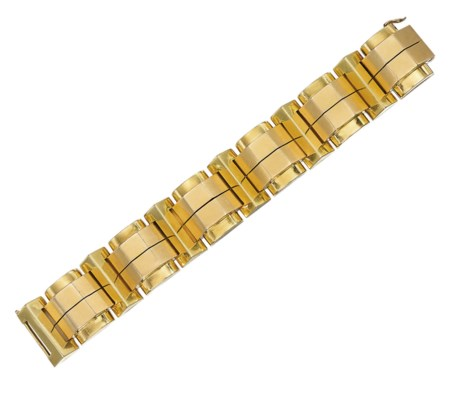 A BICOLOURED GOLD BRACELET, BY