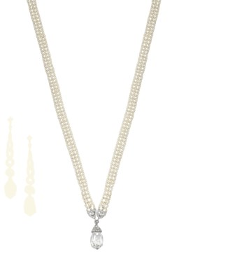 A DIAMOND AND SEED PEARL NECKL
