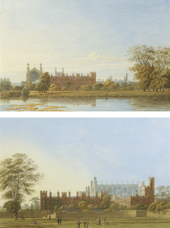 Eton College and Chapel, Windsor, from the Thames, figures on the bank of Fellows' Eyot in the foreground; and Eton College, Windsor, from College Field, the 'Wall' to the right hand side