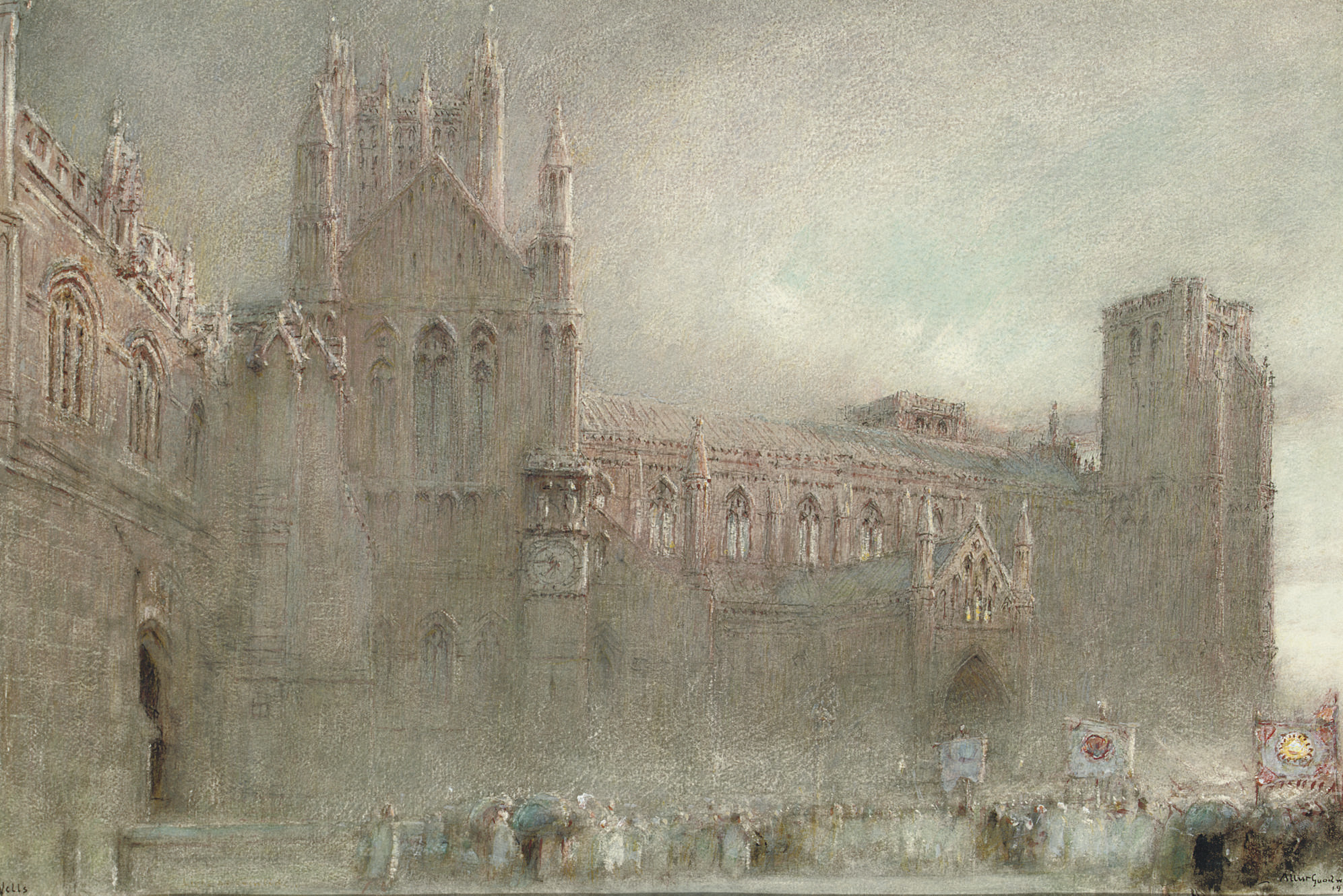 A procession by the north porch of Wells Cathedral, Somerset