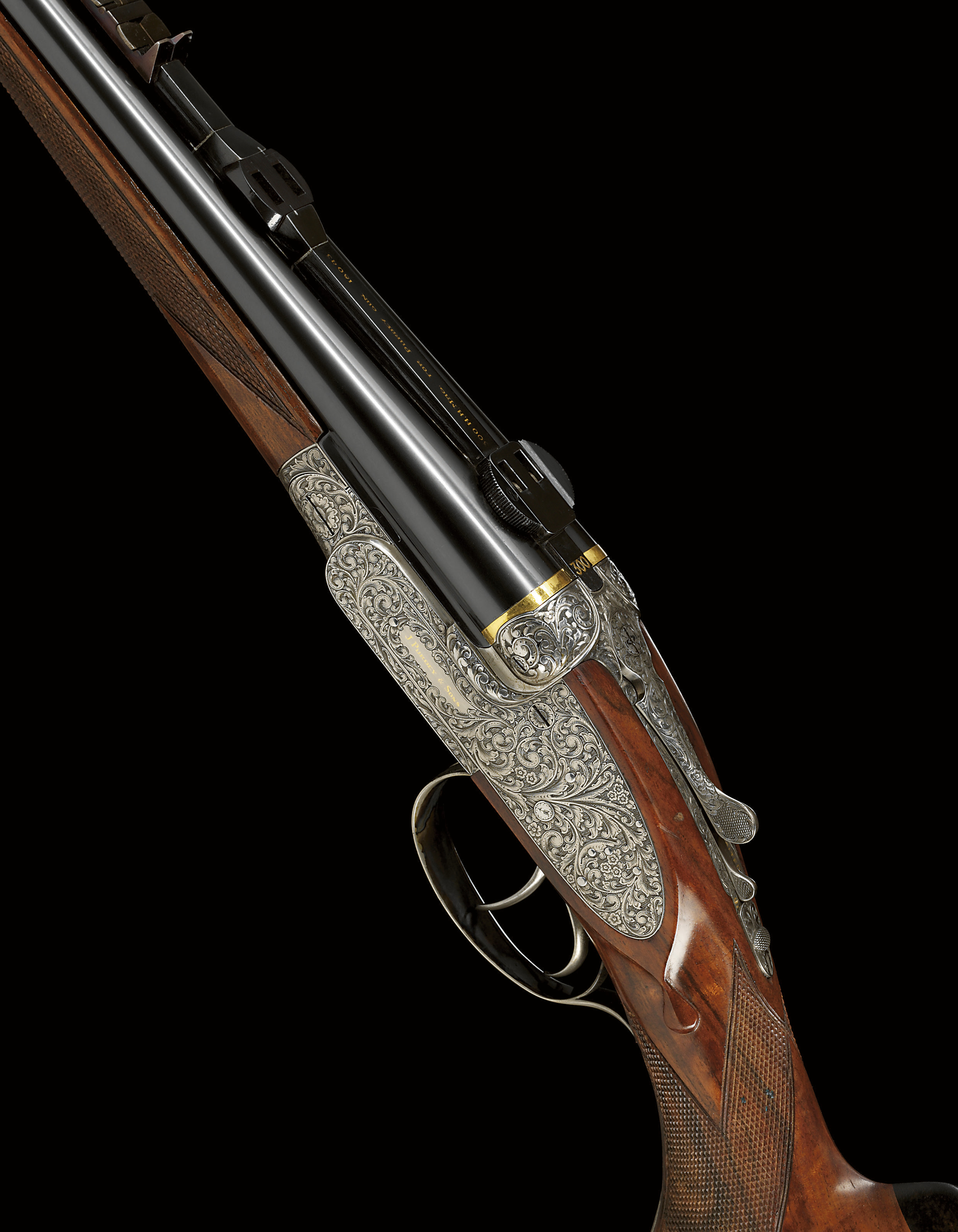 A DOUBLE-BARRELLED SELF-OPENING SIDELOCK EJECTOR SPORTING RIFLE BY J. PURDEY & SONS, NO. 18043 WITH INTERCHANGEABLE .458, .300 AND .270 BARRELS BY OTHERS