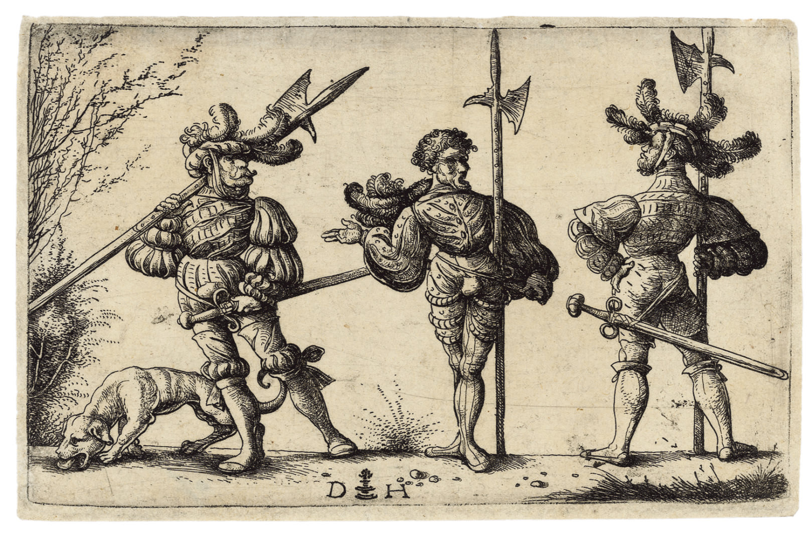 Three German Soldiers with Halberds and a Dog (B. 61; Holl. 69)