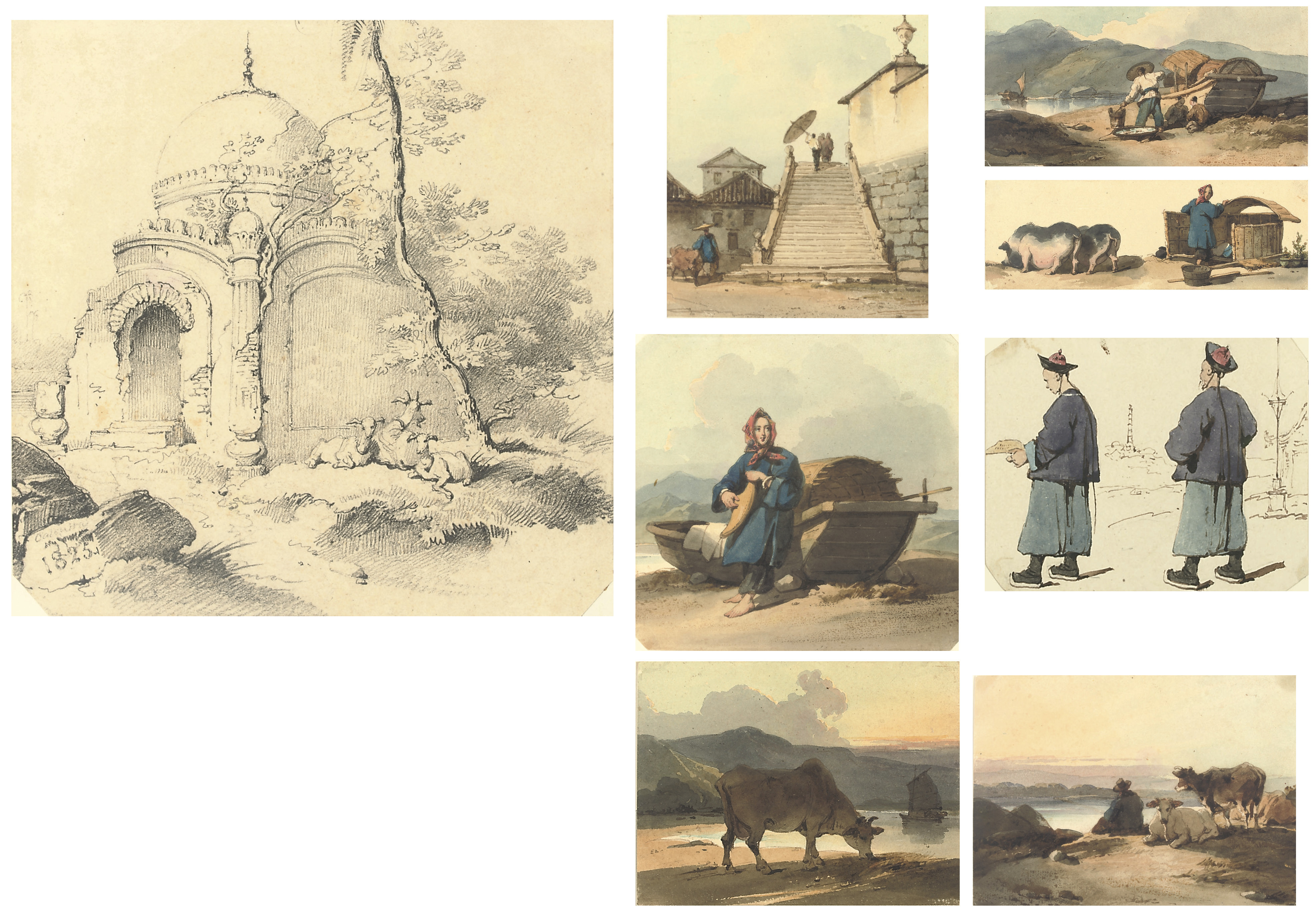 An album of 71 drawings and watercolours, mounted on 70 card leaves, including 18 watercolours and 2 drawings of Chinese subjects (Macao and environs), and 7 watercolours and 5 drawings of Indian subjects, the majority by an unknown imitator of Chinnery, the remainder drawings and watercolours of English and Continental scenery by and after Pyne, Buckley, Campion, Dodd, D'Oyly and others