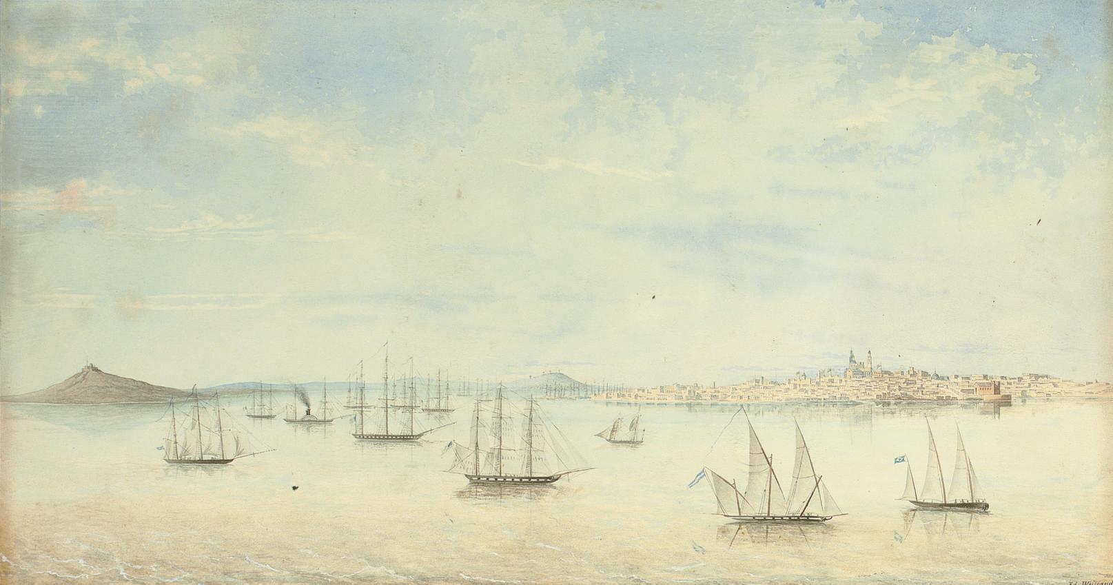 'Vue de la rade et de la ville de Montevidéo sur la Rio de la Plata. 1825 à 1828'