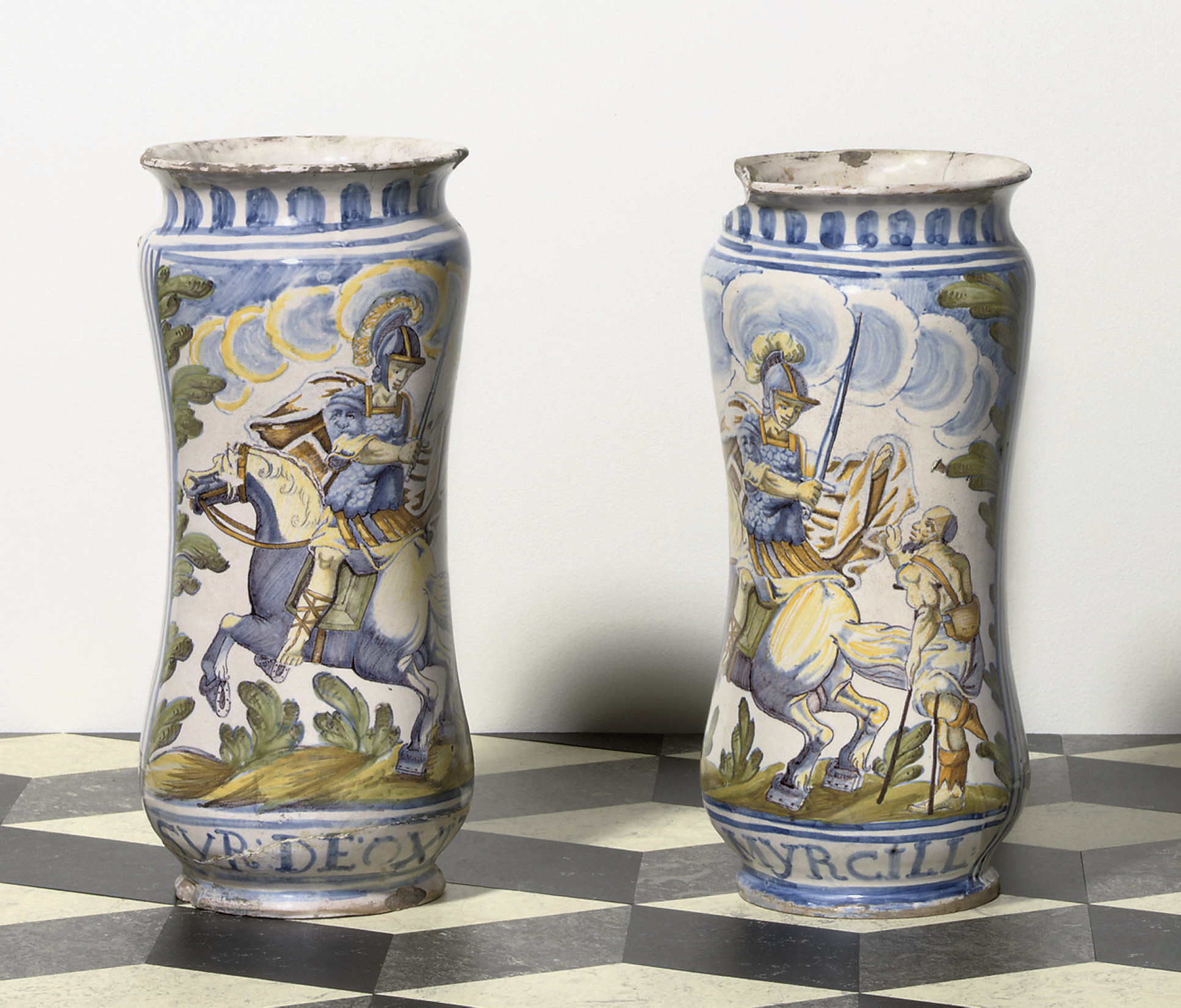 A PAIR OF DATED NAPLES OR CAST