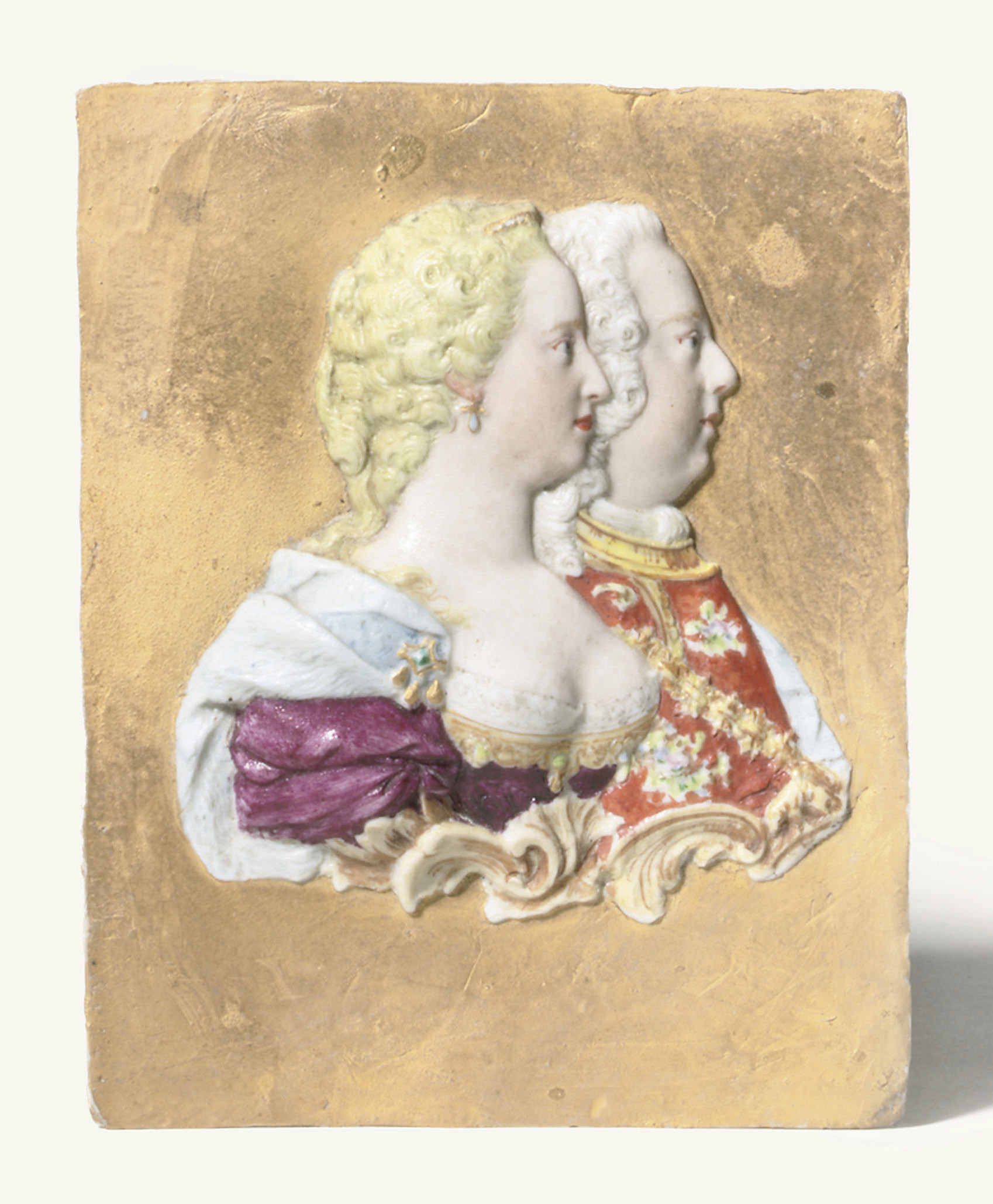 A DOCCIA GOLD-GROUND MOULDED ROYAL PORTRAIT PLAQUE OF EMPRESS MARIA THERESA OF AUSTRIA AND HER CONSORT FRANCESCO DUKE OF LORRAINE AND BAR AND GRAND DUKE OF TUSCANY