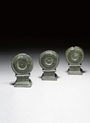THREE ROMAN BRONZE ATTACHMENTS