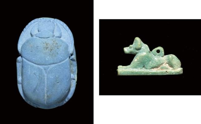 AN 'EGYPTIAN BLUE' HEART SCARA