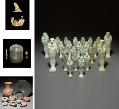 FOUR EGYPTIAN TURQUOISE GLAZED