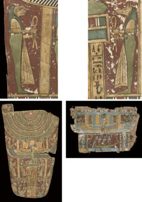 AN EGYPTIAN POLYCHROME CARTONN
