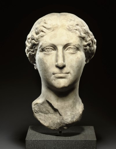 A ROMAN OVER LIFE-SIZE MARBLE