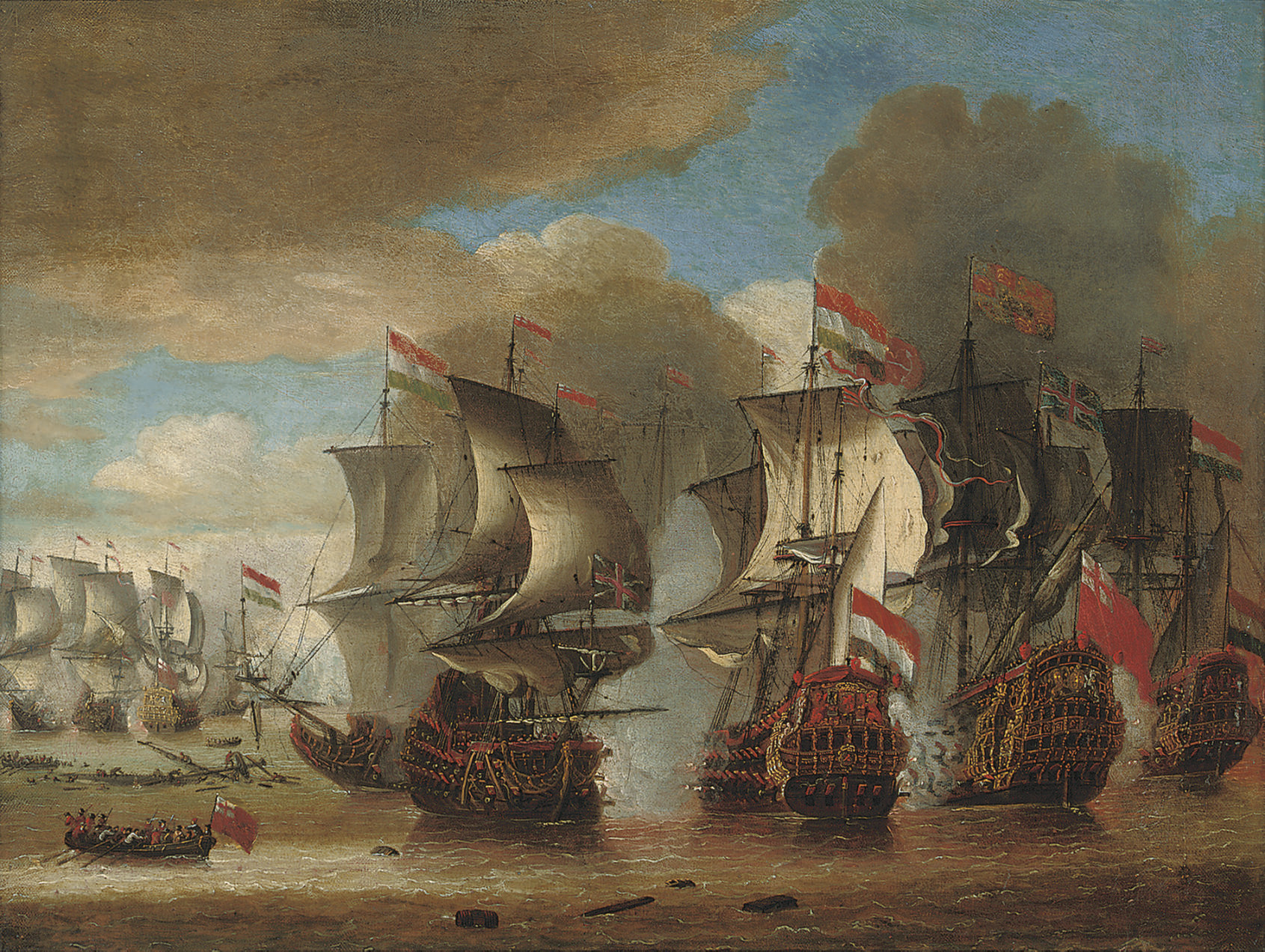 The Battle of Solebay, 28th May 1672; the English flagship Royal Prince heavily engaged by Dutch vessels on either side of her