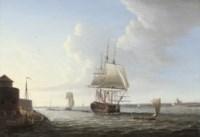 An English man-o'war shortening sail entering Portsmouth harbour, with Fort Blockhouse off her port quarter