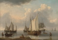 A British warship, Dutch barges and other coastal craft on the Ijselmeer in a calm