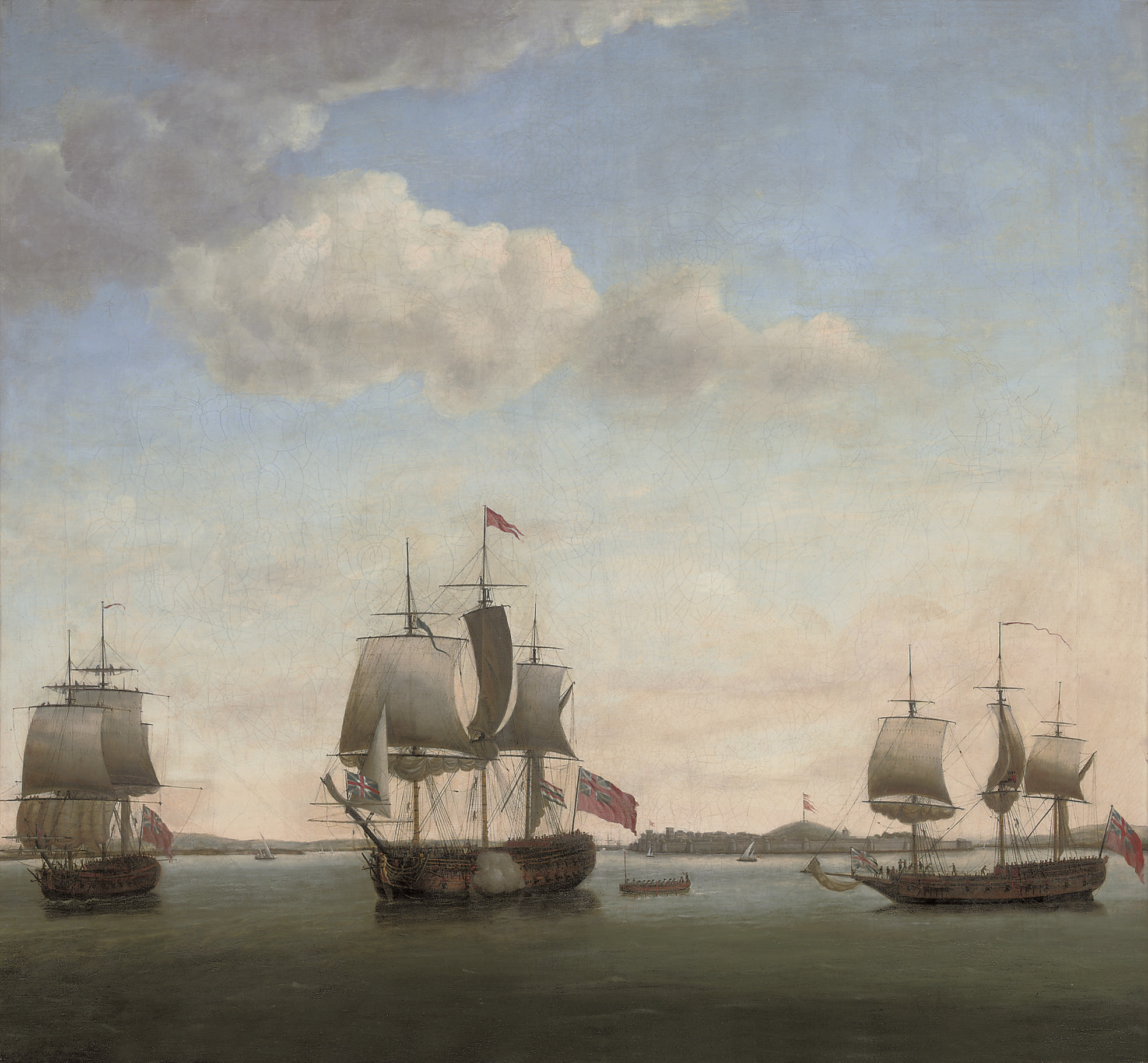 Commodore James in the Protector, with the Revenge and the grab Bombay in the bay off the Suvarnadrug fort at Gheriah, India, April 1755