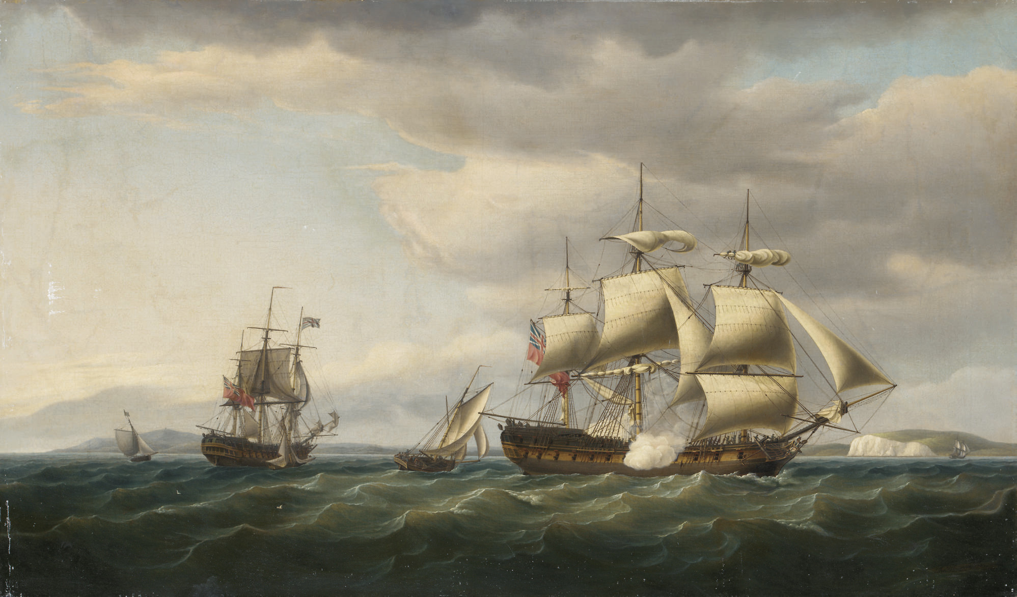 The East Indiaman Rodney in two positions off the English coast, firing a salute to mark her safe return from Bengal in August, 1788
