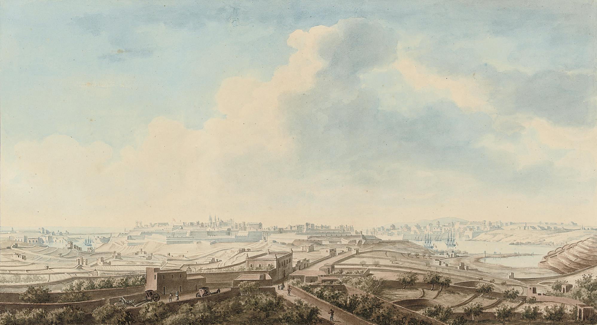 Vue de la ville Valette prise de la campagne