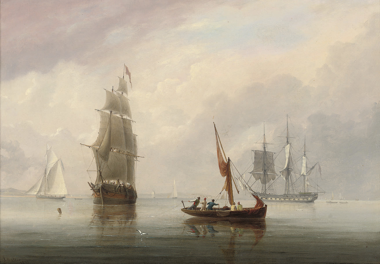 A three-masted merchantman in a light breeze off Avonmouth, with a Royal Navy frigate anchored and drying her sails offshore