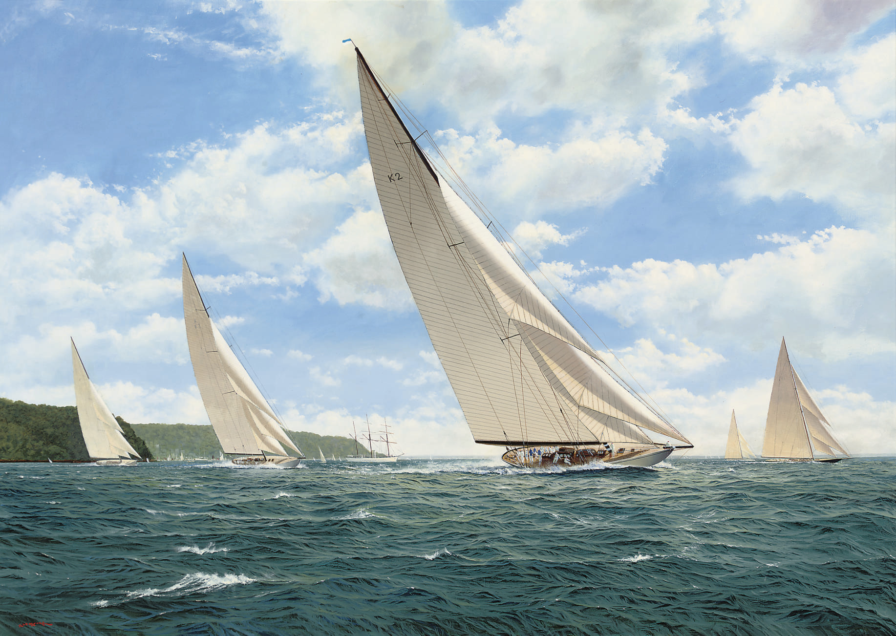Astra (K2) leading the pack, including Britannia (K1) and Shamrock V (K3), off Cowes, with Sir Thomas Lipton's steam yacht Erin anchored in the bay beyond