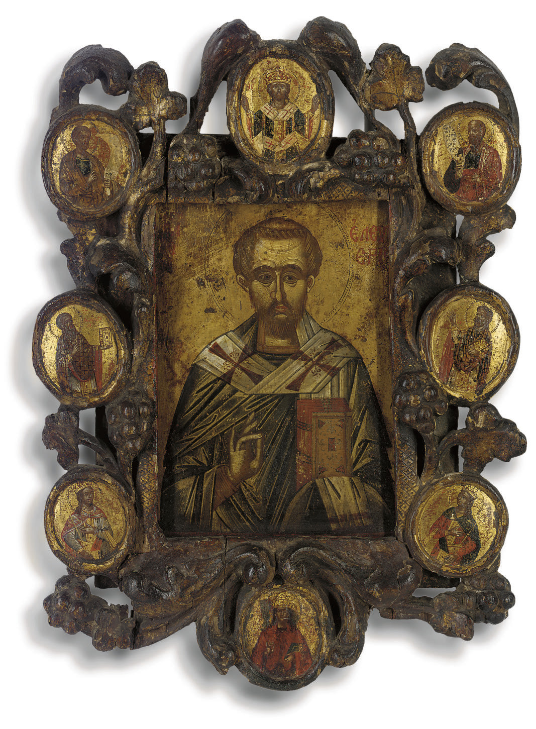 ST. ELEUTHERIOS IN A CARVED WO