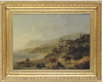 A coastal landscape with figures and horses on a beach