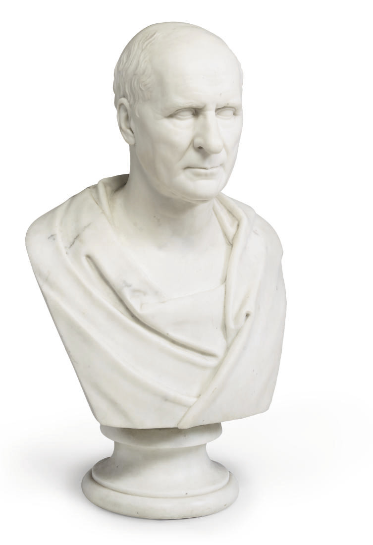 A SCOTTISH WHITE MARBLE BUST OF JOHN GLADSTONE