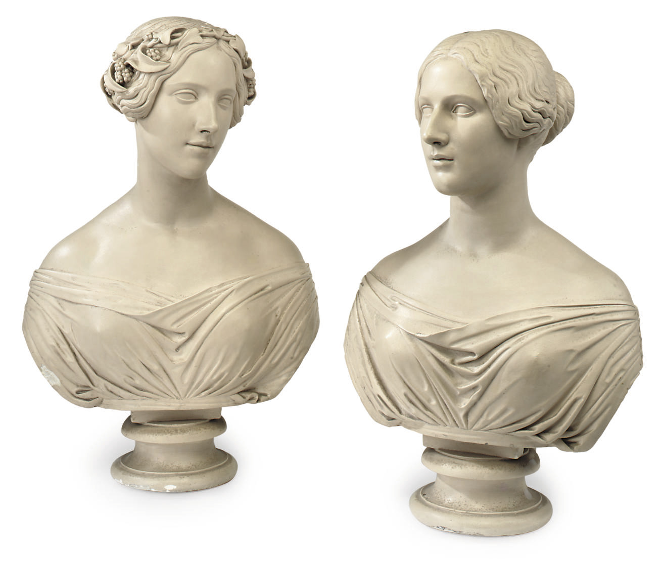 A PAIR OF ENGLISH PAINTED PLASTER BUSTS OF MAIDENS