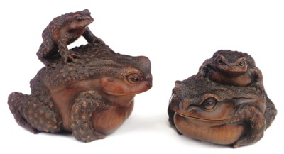 TWO WOOD OKIMONO OF TOADS