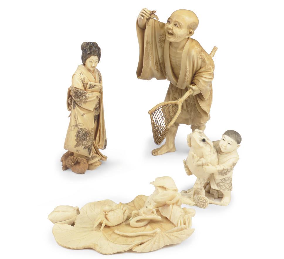 FOUR IVORY OKIMONO