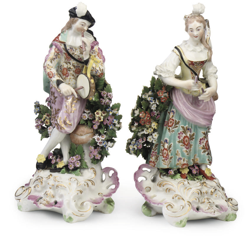 A PAIR OF DERBY FIGURES OF MUS