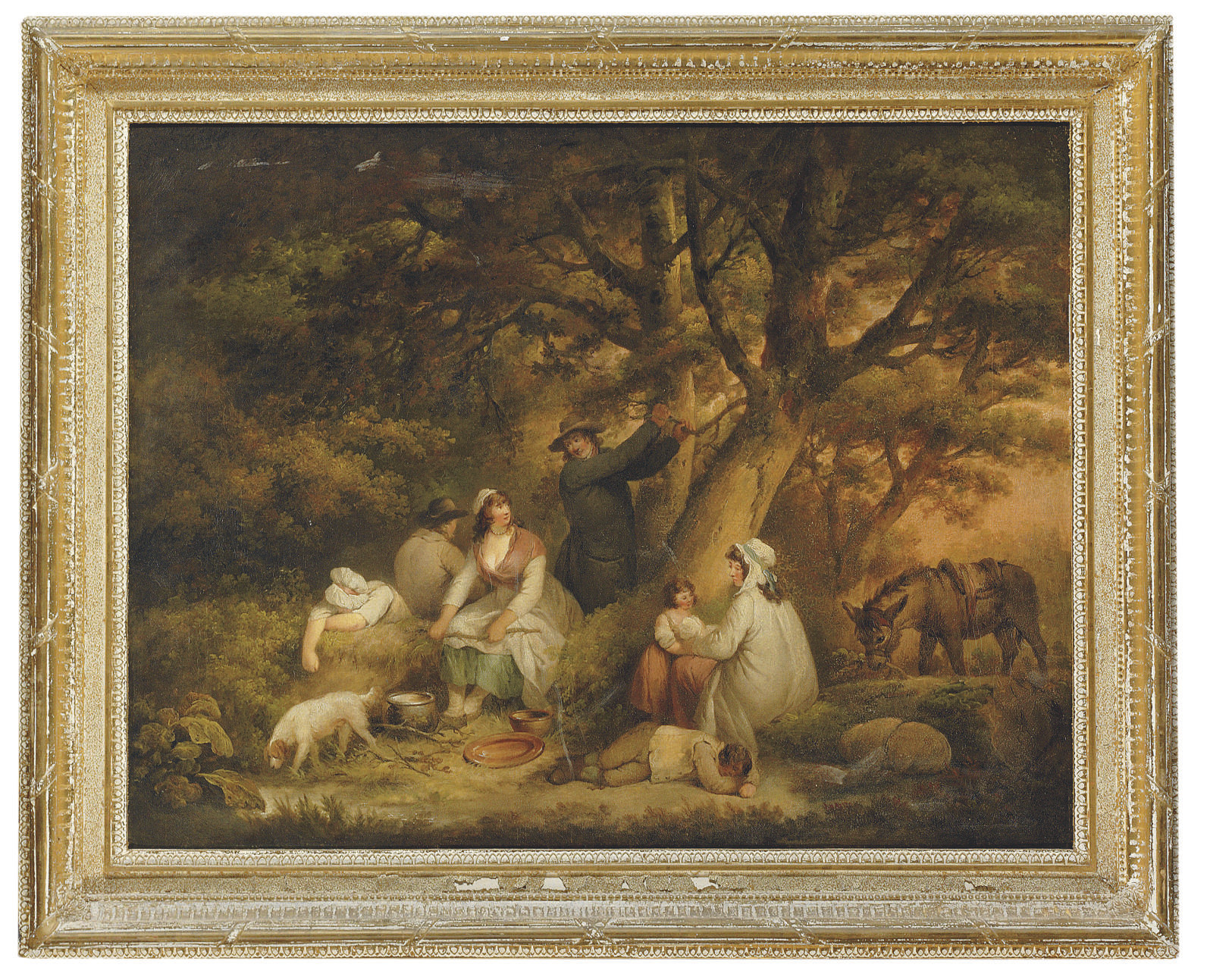Figures gathered in a woodland clearing