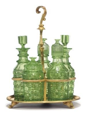 A RUSSIAN ORMOLU AND GREEN GLA