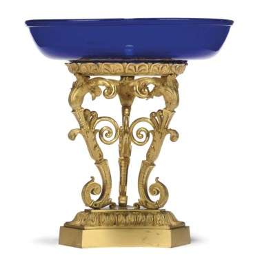 A RUSSIAN ORMOLU AND BLUE GLAS