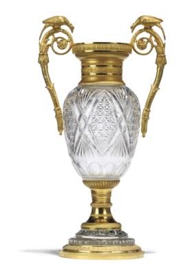 A RUSSIAN ORMOLU AND CUT-GLASS