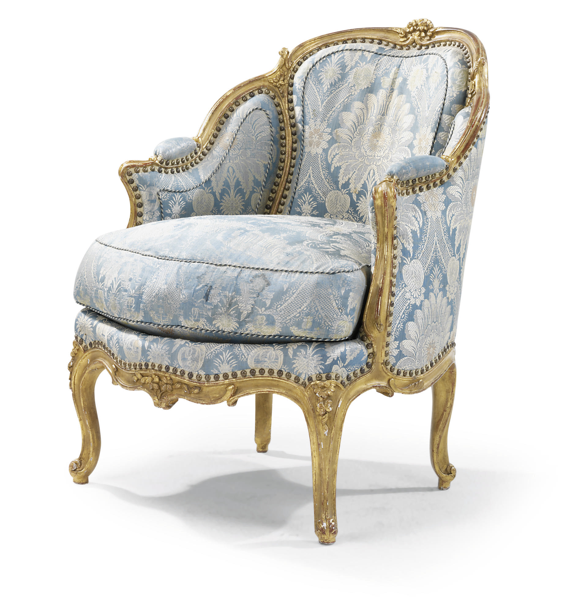 A LOUIS XV CARVED AND GILTWOOD BERGERE EN CABRIOLET