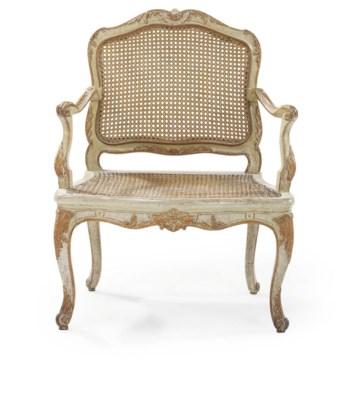 A LOUIS XV PALE GREY-PAINTED A