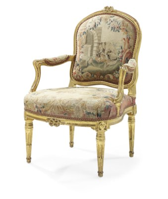 A LOUIS XVI GILTWOOD AND TAPES