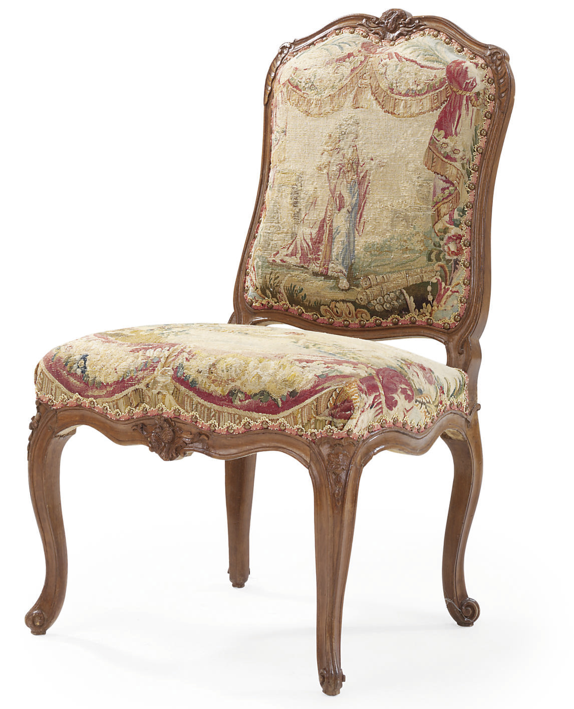 A LOUIS XV BEECHWOOD AND AUBUSSON TAPESTRY CHAISE A LA REINE