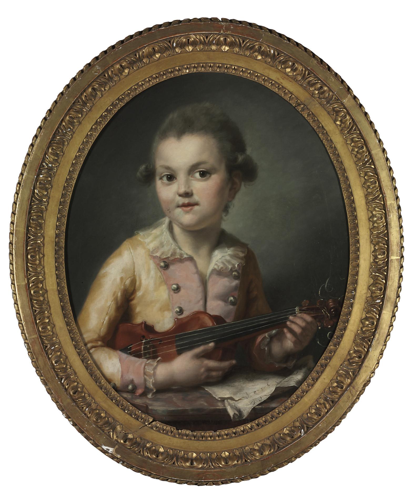 Portrait of François-Constance Guérin as a boy, half-length, plucking a violin