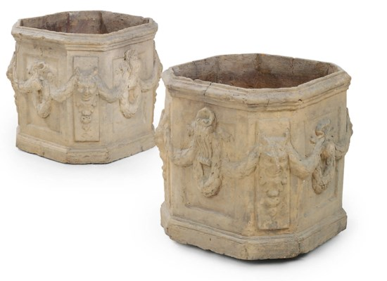 A PAIR OF FRENCH TERRACOTTA OC