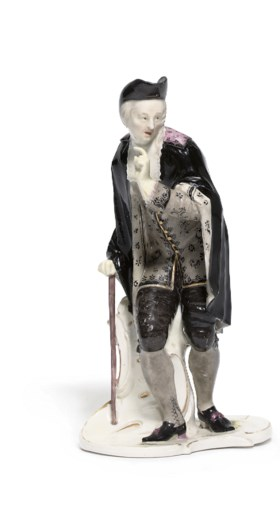 A NYMPHENBURG FIGURE OF L'ABBE OR ANSELMO FROM THE COMMEDIA