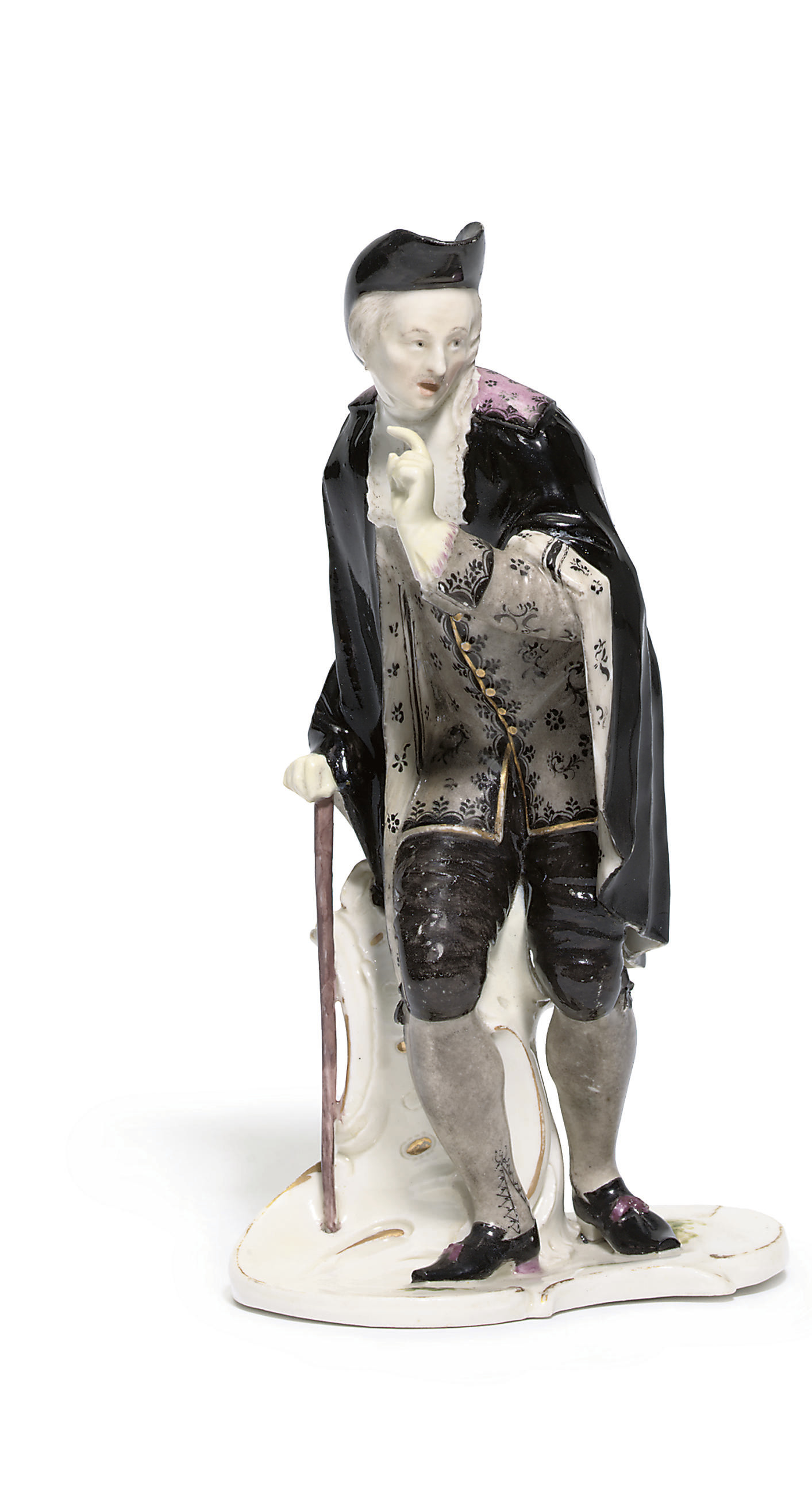 A NYMPHENBURG FIGURE OF L'ABBE OR ANSELMO FROM THE COMMEDIA DELL'ARTE SERIES